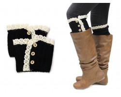 Black Knit Lace Buttons Boot Toppers