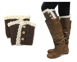 Brown Knit Lace Buttons Boot Toppers