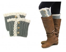 Gray Knit Lace Buttons Boot Toppers