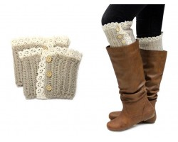 Khaki Knit Lace Buttons Boot Toppers