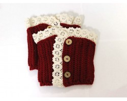 Red Knit Lace Buttons Boot Toppers