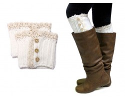 White Knit Lace Buttons Boot Toppers
