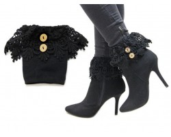 Black Lace Buttons Knit Boot Toppers