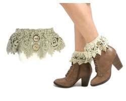 Khaki Lace Buttons Knit Boot Toppers