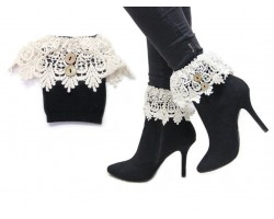 White Lace Buttons Knit Boot Toppers