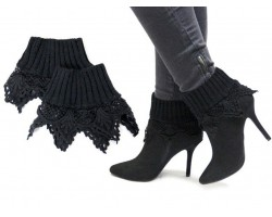 Black Lace Knit Boot Toppers
