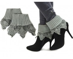 Gray Lace Knit Boot Toppers