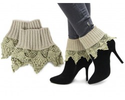 Khaki Lace Knit Boot Toppers