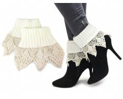 White Lace Knit Boot Toppers