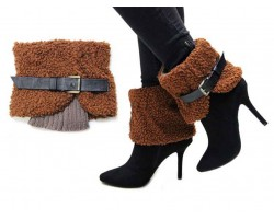 Brown Buckled Short Boot Toppers