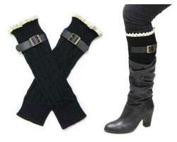 Black Buckled Lace Boot Toppers