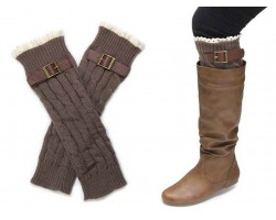 Brown Buckled Lace Boot Toppers