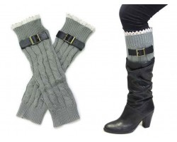 Gray Buckled Lace Boot Toppers