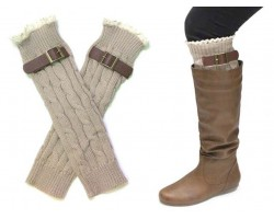 Khaki Buckled Lace Boot Toppers