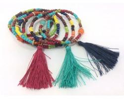 Multi Colored Bead Tassel Bracelet 6 Set