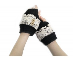 Black Knit White Lace Crystal Hand Warmers 2 Buttons