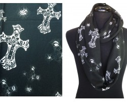 Black White Cross Filigree Knit Infinity Loop Scarf
