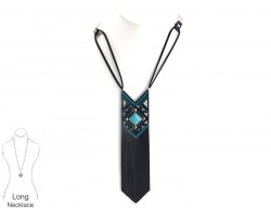 Black Turquoise Leather Diamond Necklace