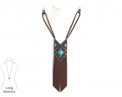 Brown Turquoise Leather Diamond Necklace