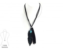 Black Turquoise Leather Feather Necklace