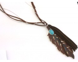 Brown Leather Tassel Long Linked Necklace