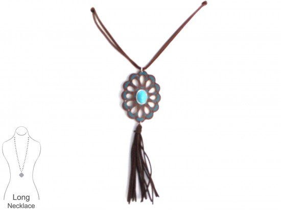 Black Turquoise Leather Concho Necklace