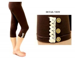Brown Lace Button Capri Leggings 12pk