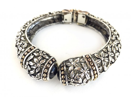 Silver Flower Pattern Hinge Bangle
