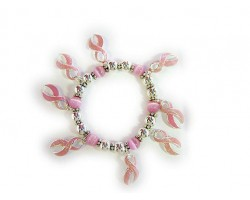 Pink Breast Cancer Ribbon Charm Bracelet