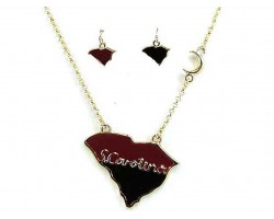 Red Black South Carolina Gold Chain Necklace Set