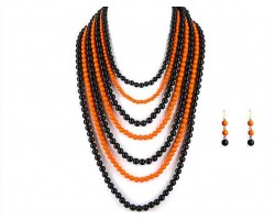 Black Orange 7 Strand Necklace Set