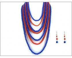Blue Orange 7 Strand Necklace Set