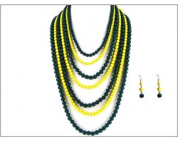 Green Yellow 7 Strand Necklace Set