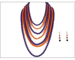 Purple Orange 7 Strand Necklace Set