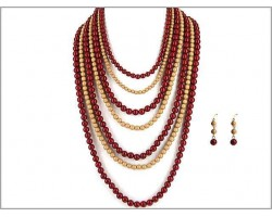 Red Light Brown Gold 7 Strand Necklace Set