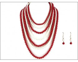 Red White 7 Strand Necklace Set