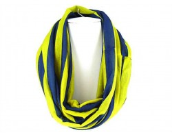 Blue Yellow Strip Knit Infinity Scarf