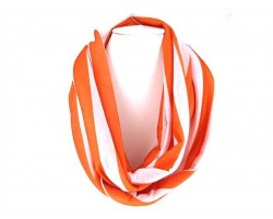 Orange White Strip Knit Infinity Scarf
