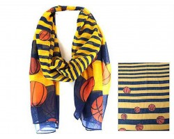Blue Yellow Basketball Theme Oblong Scarf