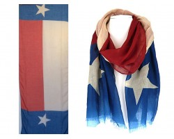 Red White Blue Texas Flag Star Oblong Scarf