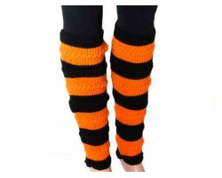 Orange Black Striped Knit Boot Topper Leg Warmer