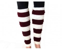 Maroon White Striped Knit Boot Topper Leg Warmer
