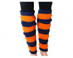 Navy Orange Striped Knit Boot Topper Leg Warmer