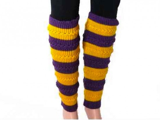 Purple Yellow Striped Knit Boot Topper Leg Warmer