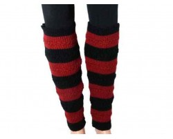 Red Black Striped Knit Boot Topper Leg Warmer