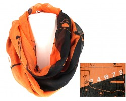 Orange Black Boots Hat Infinity Scarf