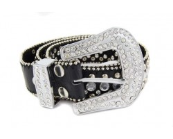 Black Leather Large Crystal & Stud Belt