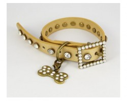 "15"" Gold Leather Clear Crystal Studded Dog Collar"