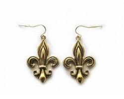Antique Gold Etched Fleur De Lis Hook Earrings
