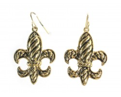 Gold Diagonal Line Pattern Fleur De Lis Earrings